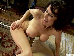 Veronica Avluv is feeling kinky and wants to try out the black dick powered machine. Watch her get machine fucked while she plays with a vibrator!