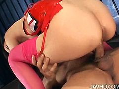 Jav HD sex clip presents a voracious and horny Japanese brunette with sweet tits and smooth ass. This kinky chick desires nothing but to get both her holes polished today. Just see her reaction on pussy and anus polishing and be sure to jizz at once.