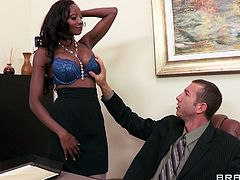This babe Diamond Jackson is a bra model. She shows her boss how good she is at fucking right on his desk.