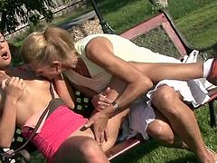 His mature mommy is pipeing and dildoing his GF's muff