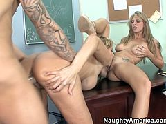 Voracious MILF bitches are going dirty and wild at the college. They debauch the guy for a hardcore threesome sex. Spicy Naughty America sex video for free.