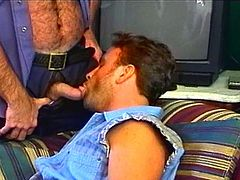 Huge gay cop bear with muscle body will blow his cock in horny gay's ass and will fuck him so hard and deep, its craziest and hardest fuck ever.Don't miss it!