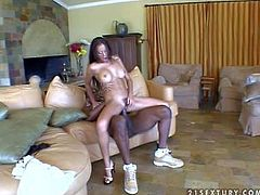 Attractive long haired sexy bitch with big jaw dropping hooters and pale skin gets her hairy minge boned deep by tall black stud with muscled body in unreal awesome position