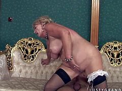 Short haired blonde fat granny with big hanging tits and juicy ass in stockings only rides on young good looking stud and gets her holes fingered on sofa in close up