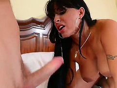 Busty brunette mom Holly Halston enjoys young hunk Levi Cash fucking her hard