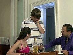 Husband watches as his Sleaze milf is cuckolding onto him