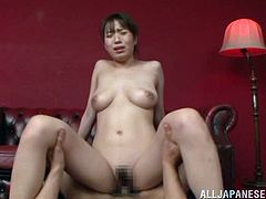 An Asian cutie is looking pretty in her pink swimsuit driving her man demented so he bones her heavy.