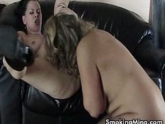 Brunette milf slut is smoking a cigarette and gt her pussy licked by her friend dressed in latex! Hardcore lesbian action guaranteed!