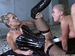 Dora Venter and Mandy Bright wearing latex costumes are having fun with a man. They please him with a blowjob and then enjoy jumping on his prick by turns.
