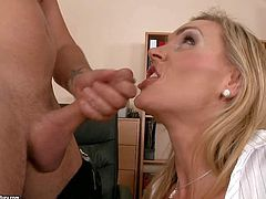 Perfect boobed milf Tanya Tate bares her cans and gives blowjob to hot dude before she gets naked. Then lovely MILF in black stockings gets her tight hairless pussy pumped full of cock.