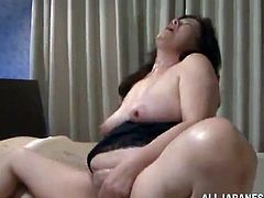 She gets naked and starts pleasing herself with a vibrator. This lady hadn't had sex for like a century and here is how she compensates it.