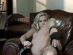 Sexy hot blonde chick Ainsley Addison got in fancy armchair nude, spread her sexy slender legs in high heel black shoes and fucking up her own cunt with big dildo!
