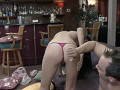 Gorgeous chick Nikki Daniels is getting fucked by magnificent, well-endowed male Will Powers. He likes the way her cunt looks from behind. His curvy cock is piercing her rapidly.