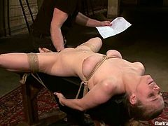 Kinky blonde babe gets chained. Later on she sucks a cock and gets fucked deep in her ass. She also gets her pussy toyed.
