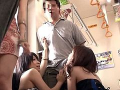 Pretty Japanese girl is getting naughty in a bus. She gives a blowjob to a stranger and then lets somebody fuck her pussy in missionary position.