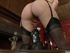 This submissive new meat is about to meet the ultimate great black cock. Watch this slave getting crushed by the gigantic cock just to play her master's flute afterwards.