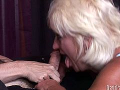 Tanned old bitch with droopy boobs teaches hot and mesmerizing slim blondie with sweet tits what a real and stout blowjob is. Cum addicted nymphos bow above the dick for sucking it passionately. All both nymphos, who're different in age, but common in fucking skills, need is to be fed with sperm.