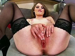 Come and see the kinky brunette temptress Alice March flaunting her hot skinny body and sexy ass while wearing black stockings. She's definitely on the mood to be wild today.