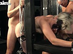 Really naughty action goes on in this BDSM sex video with the blonde and redhead MILFs Karin Wild and Titti Tut in this kinky video.