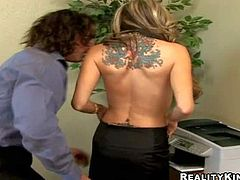 Big boobed office lady Sarah Jessie is damn horny and gievs it to her co-worker. She spreads her legs and gets her pussy licked before he bangs her hot mouth. Watch big racked woman get it on!