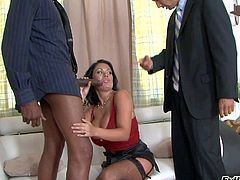Sienna West is a passionate dark haired wife that loves big black cock. Her husband catches her sucking big dark dick on her knees. Watch her get face fucked in interracial cuckold action.