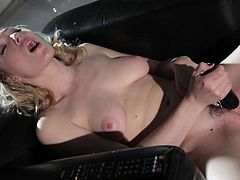 Blonde beauty amazes with her kinky masturbation solo that makes her moan loud
