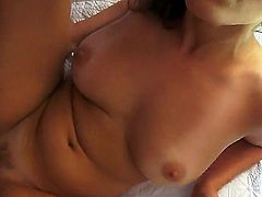 Curvy chick Lily Love has nice natural tits, curly hair, beautiful eyes and shaved vagina, that is ready for hardcore penetrations! She rides her boyfriends dick and screams loudly