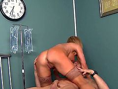 Wonderful blonde nurse has big tits and her patient Johnny Sins decides to fuck this curve. Amber Lynn agreed and got the gigantic  dick to her tight clean asshole and gentle mouth