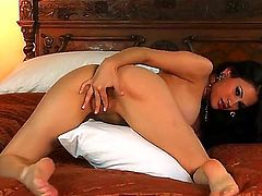 Clitoris stimulation from very beautiful and seductive busty charming brunette girl Vanessa Veracruz is before you! She stays nude before starting to caress her clit.