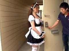 This amazing Japanese girl has big boobs. She takes her housemaid uniform off and gives hot titjob to a lucky guy.