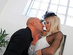 Elegalt blonde babe Lolli Moon with long legs, small ass and tight shaved pussy gets shared by Omar Galanti and latex-clad Milana. She gets tongue fucked from behind and then gives blowjob.