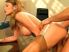 Hardcore workplace fantasy with with Danny Mountain and Monique Alexander. An unexpected party brakes out at work and these two take the chance to fuck each other senseless in the board room.