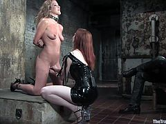 Watch this slutty slave gagging on her master's big cock as her mistress forces her to shove it down her throat while being tied.