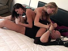 See a hot brunette and a naughty blonde taking turns sucking a hard cock in this sexy threesome vid.  Then it's time for them to lick and vibrate their clams while getting banged balls deep into a breathtaking explosion of pleasure.