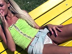 Slutty blonde likes posing in outdoor and tease with her wet pussy and ass