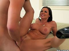 Passionate MILF stunner is getting her wet snatch polished properly. Then she is penetrated in a missionary position. Getting nailed bad mish style she squeezes her boobs kneading them hard.