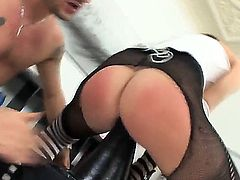 Slutty sexy naughty Omar Galanti enjoys sticking big dildoes in a brunettes ass then fucks her well