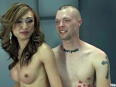 This blond Asian transsexual is having sex with this bold European faggot. They start from an oral sex, which slightly switches to an anal glory!