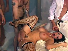 The devils gang bang. Staring Chanel Preston,Danny Wylde,Davie Drehyden,Evan Stone,Ike Diezel,John Strong,Mark Davis and Wesley Pipes. Fantastic interracial hardcore action.
