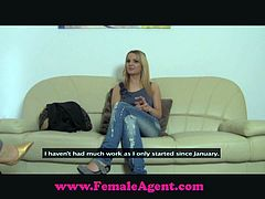 Sylvia, the casting agent is showing this blonde girl a pussy vibrator. She wants to try it and it makes her so horny that she starts licking her casting agent.