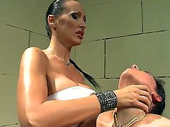 Slutty brunettes Bettina DiCapri and Mandy Bright enjoy a lesbian session of role playing