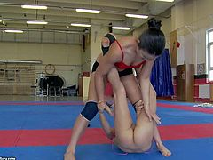 Kerry and Mira Cuckold are two lovely sporty girls that wrestle at the gym and then lick each others pussies. Lady in red top parts her legs and gets her hairless snatch tongue fucked.