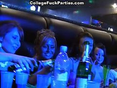 See seven nasty college babes getting out of control at the strip club. See them taking turns sucking and riding the stripper's cock while sharing lesbian pleasures among them.