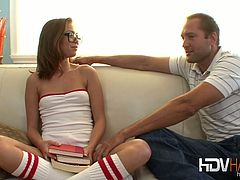 Riley Reid plays the role of a nerdy chick with glasses. She is taken out of her routine with a good fuck.