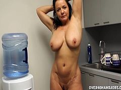 Busty babe gets a sweet facial by a big dick