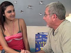 Jay Crew gets his stepdaughter Nikki Chase a nice gift for her birthday and she decides to thank him by sucking him off and licking his asshole. She uses her tongue to go right around his entire hairy starfish then sucks him off to completion.