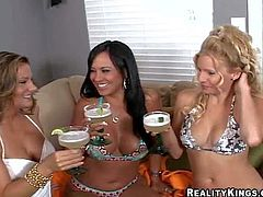 Attractive slutty milfs Kristen Cameron, Brianna Ray and Mariah Milano with delicious asses and jaw dropping firm hooters in bikinis get tipsy and start making out with each other