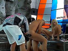 Blanche B and Teena Lipoldina are getting nailed by Omar Galanti before camera of Rocco Siffredi in this backstage scene. Chicks stand in different positions during screw.
