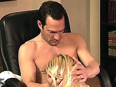 Blonde cougar Breanne Benson is super sexy lady with great body and hot long hair! Today she remained at the work to appease her lucky boss - Dino Bravo!