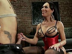 Kinky dude Lorelei Lee is having fun with brunette shemale Mia Isabella. They pet each other hotly and then have sex in side-by-side position.